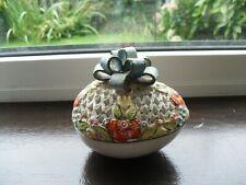 Vintage Hungary Molnar-Marton Keramia Filigree Pottery Egg, Hand Made & Painted