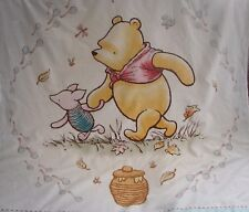 Pooh & Piglet Cotton Top Blue Minkee Cot Blanket Handmade