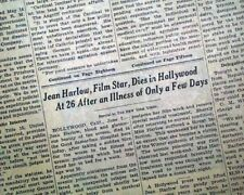 JEAN HARLOW The Blonde Bombshell Hollywood Actress DEATH 1937 Old NYC Newspaper