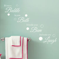 Bathroom Quote Wall Art Sticker Bubble Bath Laugh Vinyl Decal Transfer Graphic