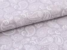 0,5 m Baumwolle Satin Stoff Vintage mit Paisley Muster Weiß auf Grau