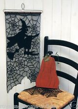 WH-56B USA Made Lace~Witch on Broom Halloween Wall Hanging Spider Web Cobweb