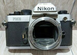 Nikon FM2 N 35mm SLR Film Camera Silver Body Only Untested AS IS Parts/Repair