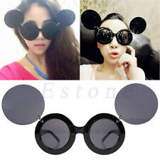 Trend Fashion Retro Lady Style Mickey Mouse Flip Up Round Shade Sunglasses