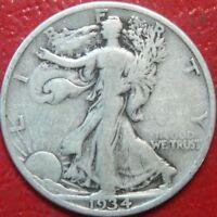 1934-S Walking Liberty Half Dollar , Circulated , 90% Silver US Coin