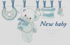 Cross stitch chart-Nuovo Bambino Nascita campionatore il suo un ragazzo Flowerpower 37-uk