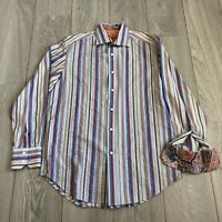 Robert Graham MED Multicolored Striped Embroidered Long Sleeve Shirt Flip Cuff