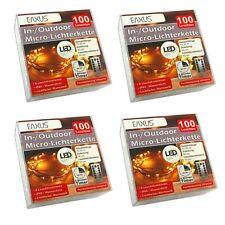 4er Set Lichterkette 100 LEDs warmweiß | Leuchtdraht | Weihnachtsbeleuchtung
