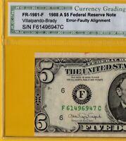 1988 $5 ERROR CUT NOTE - C.G.A VERY FINE 35