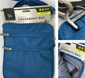 Travelon Anti-Theft Travel Purse Bag Slim Crossbody Double Zip Safety Blue NWT