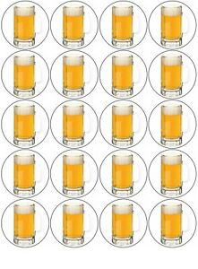 Beer Cups  Edible Icing, Cupcake Toppers x 20 Set 1