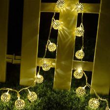 Solar Lights Balls Hanging Tree Decor Ornament Outdoor Garden Night Party Power