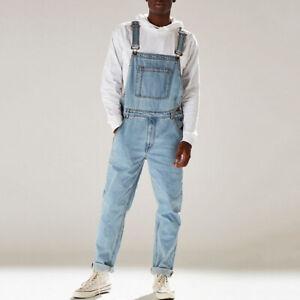 Mens Casual Denim Jeans Dungarees Overalls Suspender Trousers Bib Pants Jumpsuit