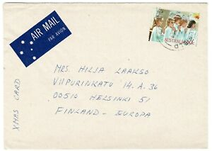 1986 Christmas card rate overseas unsealed 60c via Airmail to Finland