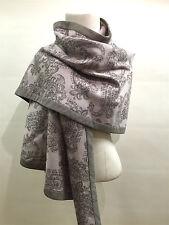 """NWT LORO PIANA Blush/Gray Paisley Print Cashmere Semicircle """"Jugarat"""" Shawl Wrap"""