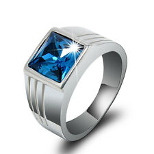 Mens Blue Sapphire Stainless Steel Fashion Wedding Ring Gift Size 8