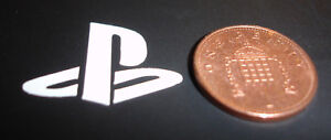 3x (Tiny) Playstation contour cut vinyl sticker / decal - White - 25mm