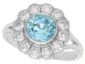 Vintage 1.34 Ct Aquamarine and 0.96 Ct Diamond 14k White Gold Cluster Ring