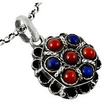 Beautiful! Coral, Lapis 925 Sterling Silver Pendant