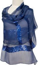 Pashmina  Hochzeit Abend Stola Blau hand bestickt hand embroidered blue stole