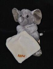 Peluche doudou éléphant gris BABY'NAT mouchoir double crème yeux durs NEUF