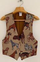Vintage BACKROAD BLUES Women Tapestry Vest Sz L Dogs Brown Multicolor Button Up
