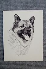 Norwegian Elkhound Pen and Ink Stationary Cards, Greeting Cards.10 pk.