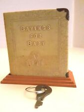 COLLECTIBLE SAVINGS FOR BABY ABC BANK COINS/BILLS WITH KEY c1930s ZELL PROD CO