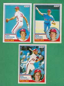 ( 3 ) 1983 O-PEE-CHEE #43 Dernier, #286 Christenson, #313  Ruthven - Phillies