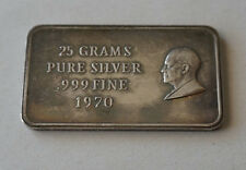 25 GRAMS .999 PURE SILVER BAR DATED 1970
