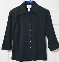Talbots Petite Size 8P 3/4 sleeve button up Black stretch Crinkle shirt top EUC