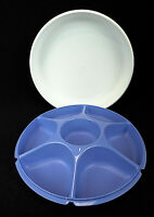 "Tupperware #1665 13"" Veggie Snack Divided Serving Tray Blue w/White Lid Vintage"