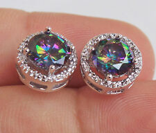 18K White Gold Filled- Round MYSTICAL Pink Topaz Amethyst Ruby Earrings 7 Color