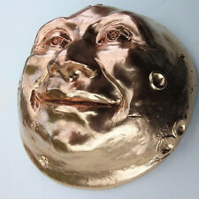 """Hand-Crafted 6"""" Wall Sculpture, Kindly Golden Moon Face, Signed by Claybraven"""