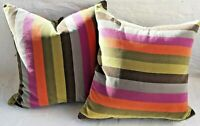 Throw Pillows Crate & Barrel Fontaine - Multi Striped Velvet - A Pair