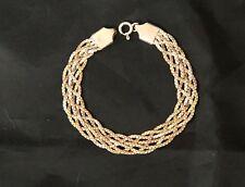 Cat soul-Bracciale a treccia argento 925 a tre colori, oro giallo,rosa e argento