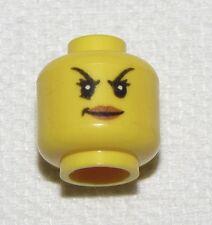 LEGO NEW YELLOW MINIFIGURE FIGURE HEAD FEMALE MEAN FACE RAISED EYEBROWS GIRL