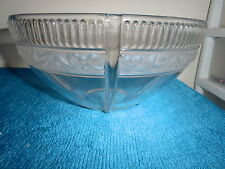 Clear  Serving Bowl Frosted Satin Glass Band Deco Design.