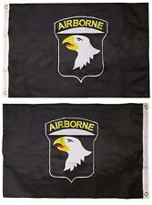 2x3 ft 101st Airborne Black Double Sided Nylon Embroidered 2'x3' Flag Grommets