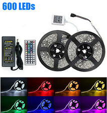 10M 33ft RGB 5050 Waterproof LED Strip 600 SMD lights 44 Key Remote 12V 5A Powe