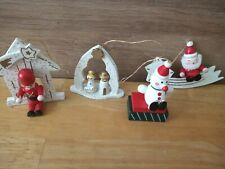 Christmas wooden decorations x4
