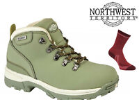 Womens Waterproof Hiking Boots NorthWest Territory Leather Walking Trek Green