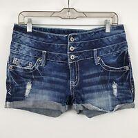 Amethyst Distress Women's Dark Wash Blue Denim Jean Shorts Size 9 / 30