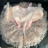 Vintage Baby Girl Toddler Dress Frilly Peach Ruffles Pageant 2T Playpal