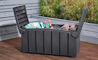 Strata 322L Heavy Duty Outdoor Storage Box Organise Garden Grey Lockable Trunk