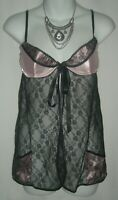 Victoria's Secret Pink Black Lace Nightie Lingerie Sheer Pockets Ribbon 34B 34 B