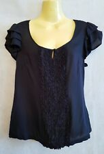 Monsoon Navy frilled blouse / top size 10