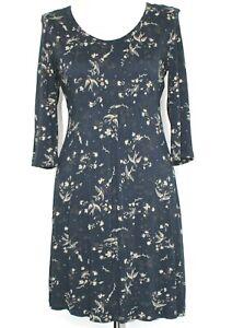 FatFace Dress Navy Bird & Floral Print Scoop Neck Jersey L/Sleeve UK 12