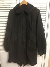 Black Military Fishtail Parka Shell Mod Scooter Hooded Men's Large