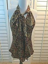 Milly Silk GOLD METALLIC Floral Print Halter Top size 6